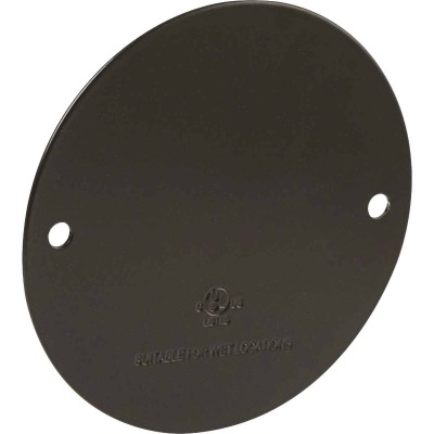 Bell Single Gang Round Die-Cast Metal Bronze Blank Outdoor Box Cover, Shrink Wrapped