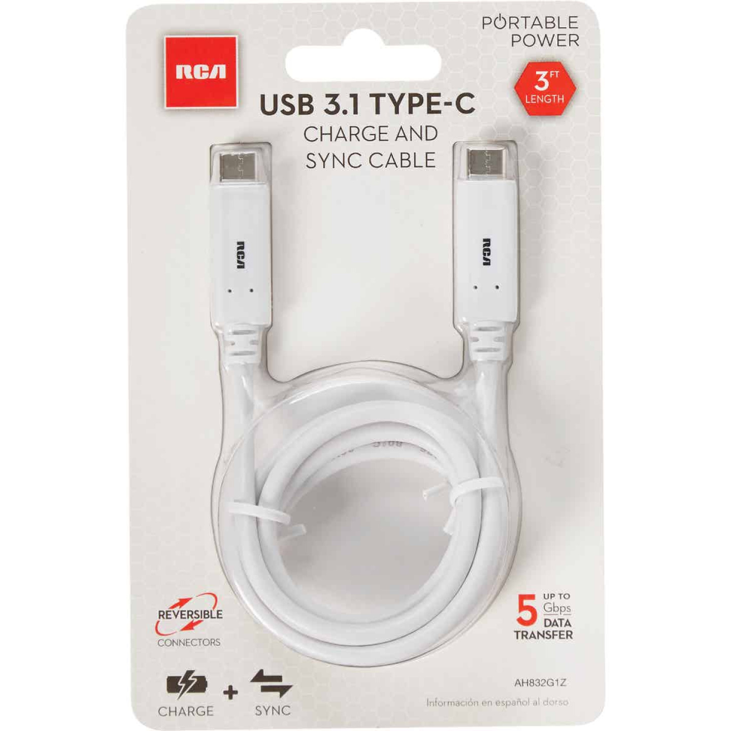 RCA 3Ft. WhiteType-C USB Charging & Sync Cable Image 2