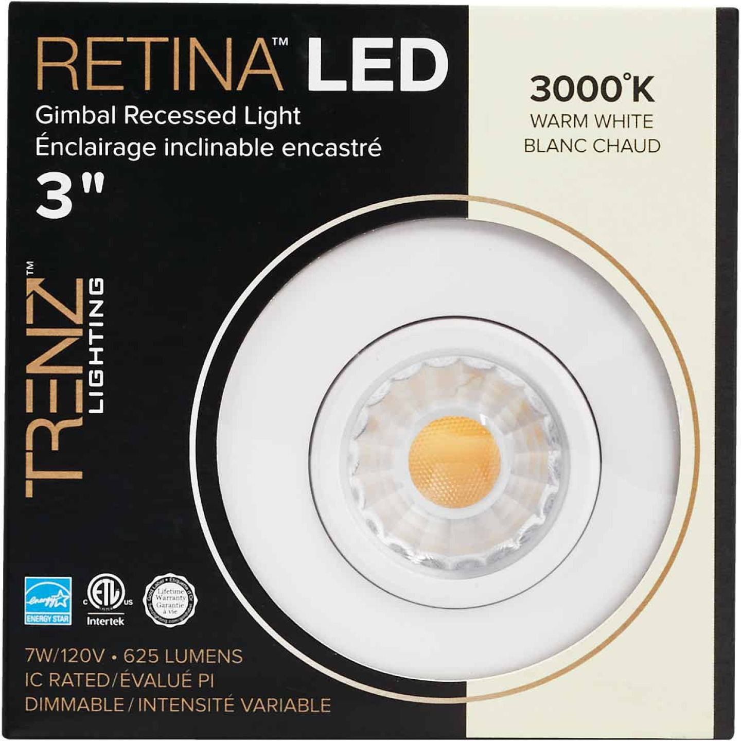 Liteline Trenz Retina 3 In. New Construction/Remodel IC Rated White 3000K Gimbal Recessed Light Kit Image 2