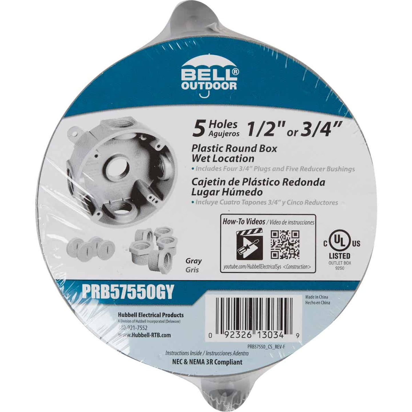 Bell Single Gang 1/2 In.,3/4 In. 5-Outlet Gray Round PVC Weatherproof Outdoor Outlet Box Image 2