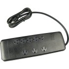Woods 8-Outlet 3540J Black Resettable Surge Protector Strip with 6 Ft. Cord Image 1