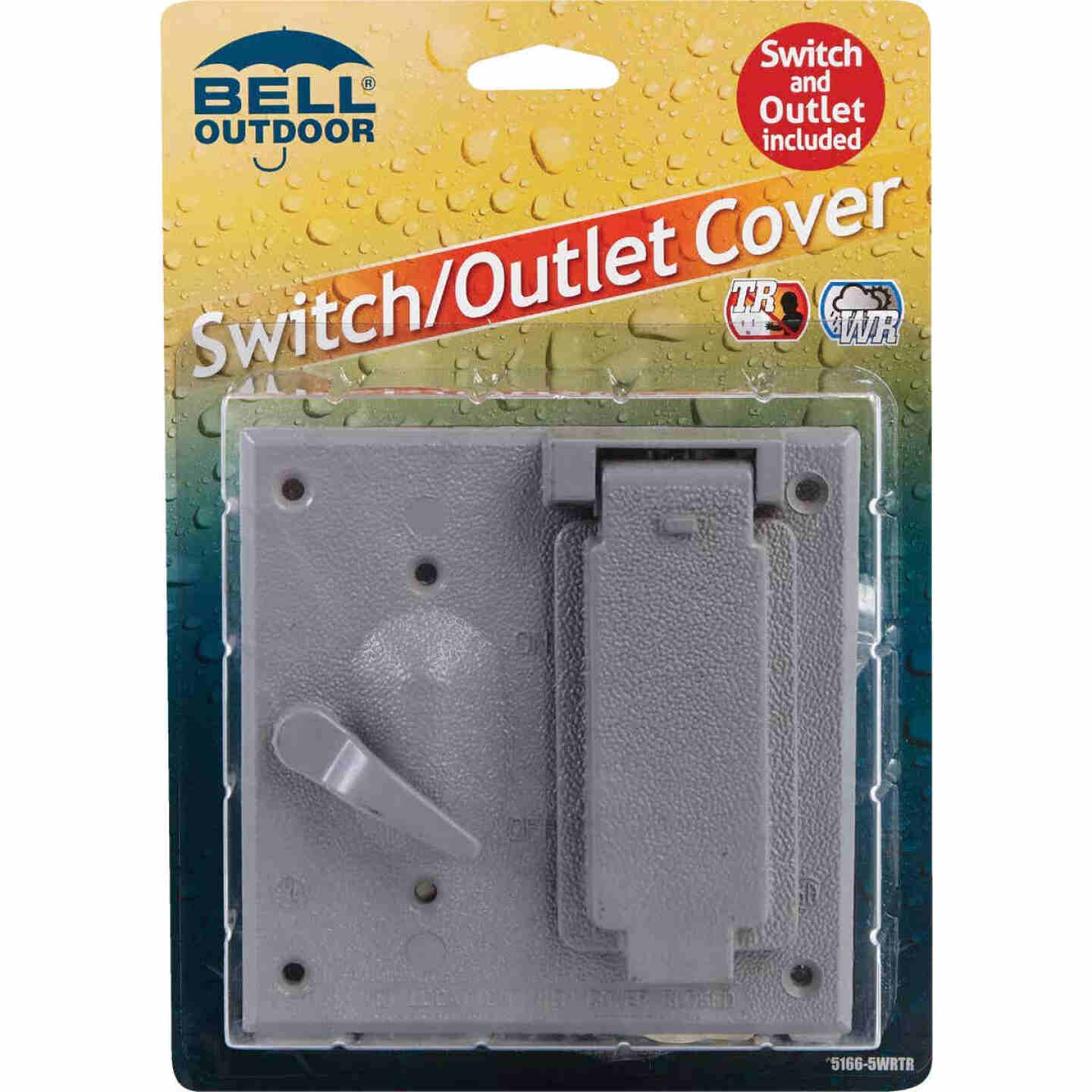 Bell 2-Gang Vertical Mount Die-Cast Metal Gray Outdoor Outlet Cover Image 2