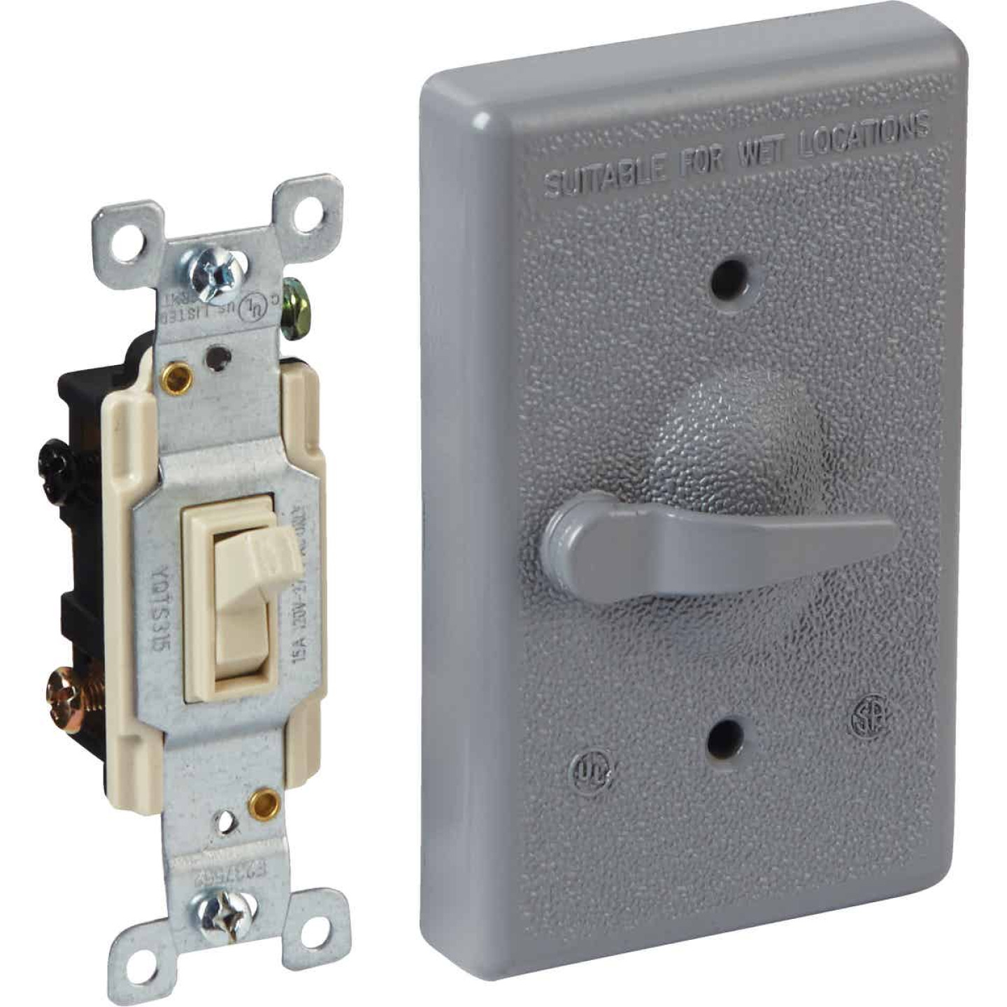 Bell Gray 3-Way Vertical Mount Outdoor Switch Cover Image 1