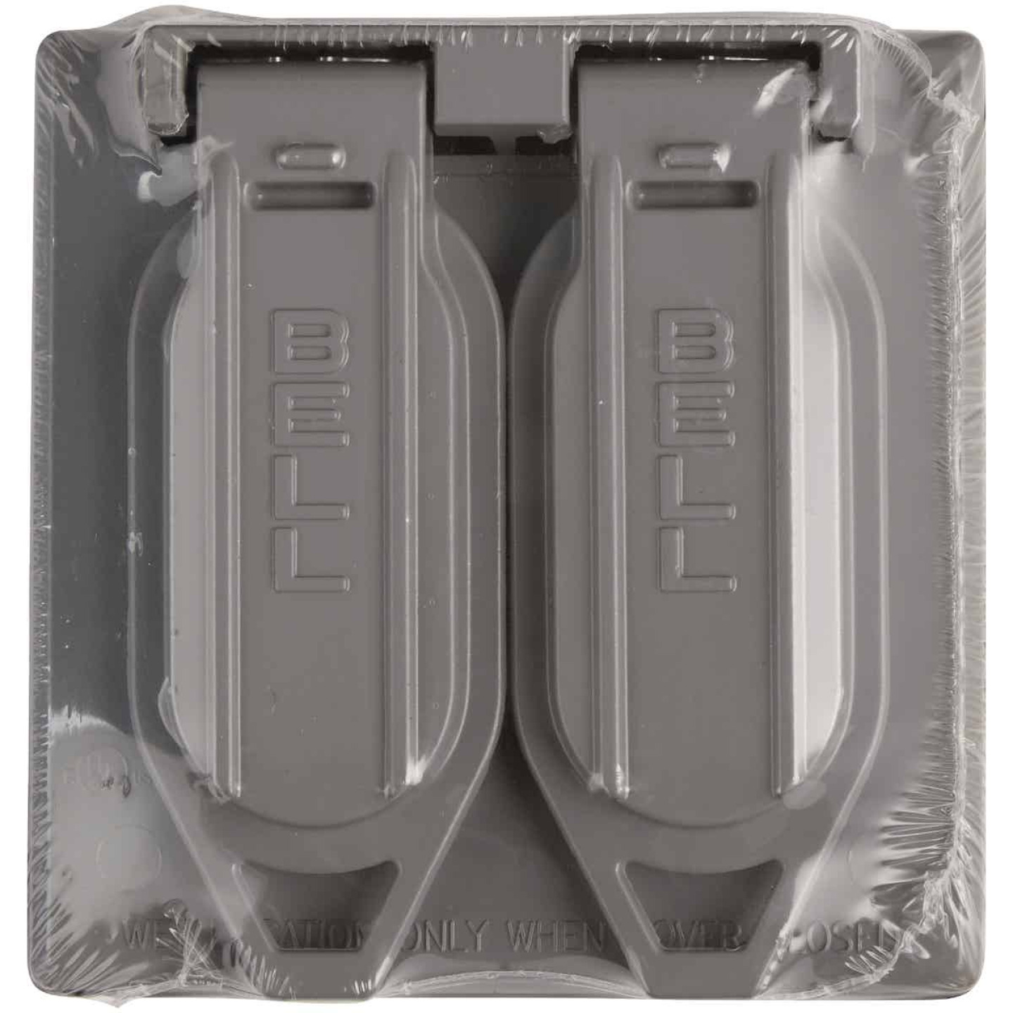Bell 2-Gang Vertical Mount Die-Cast Metal Gray Weatherproof Outdoor Outlet Cover Image 2