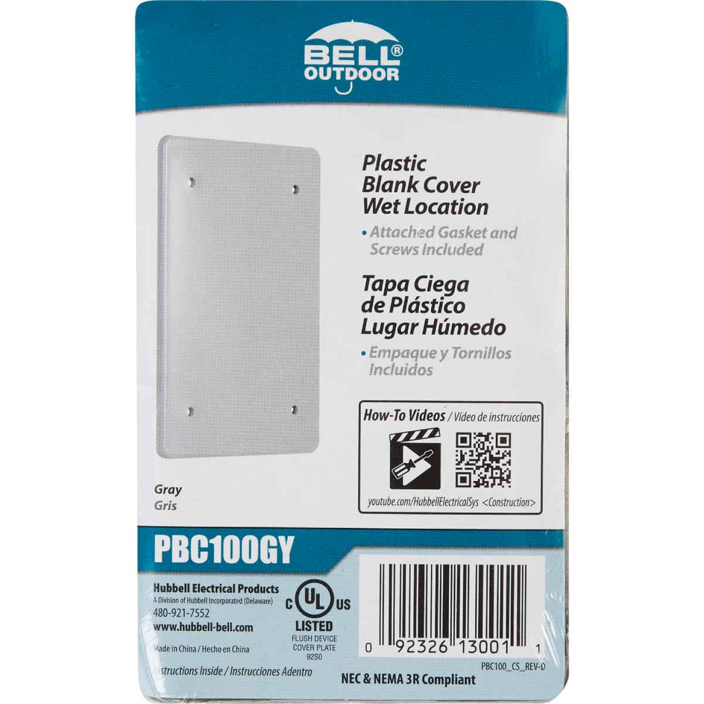 Bell Single Gang Blank Rectangular Polycarbonate Gray Weatherproof Outdoor Box Cover Image 2