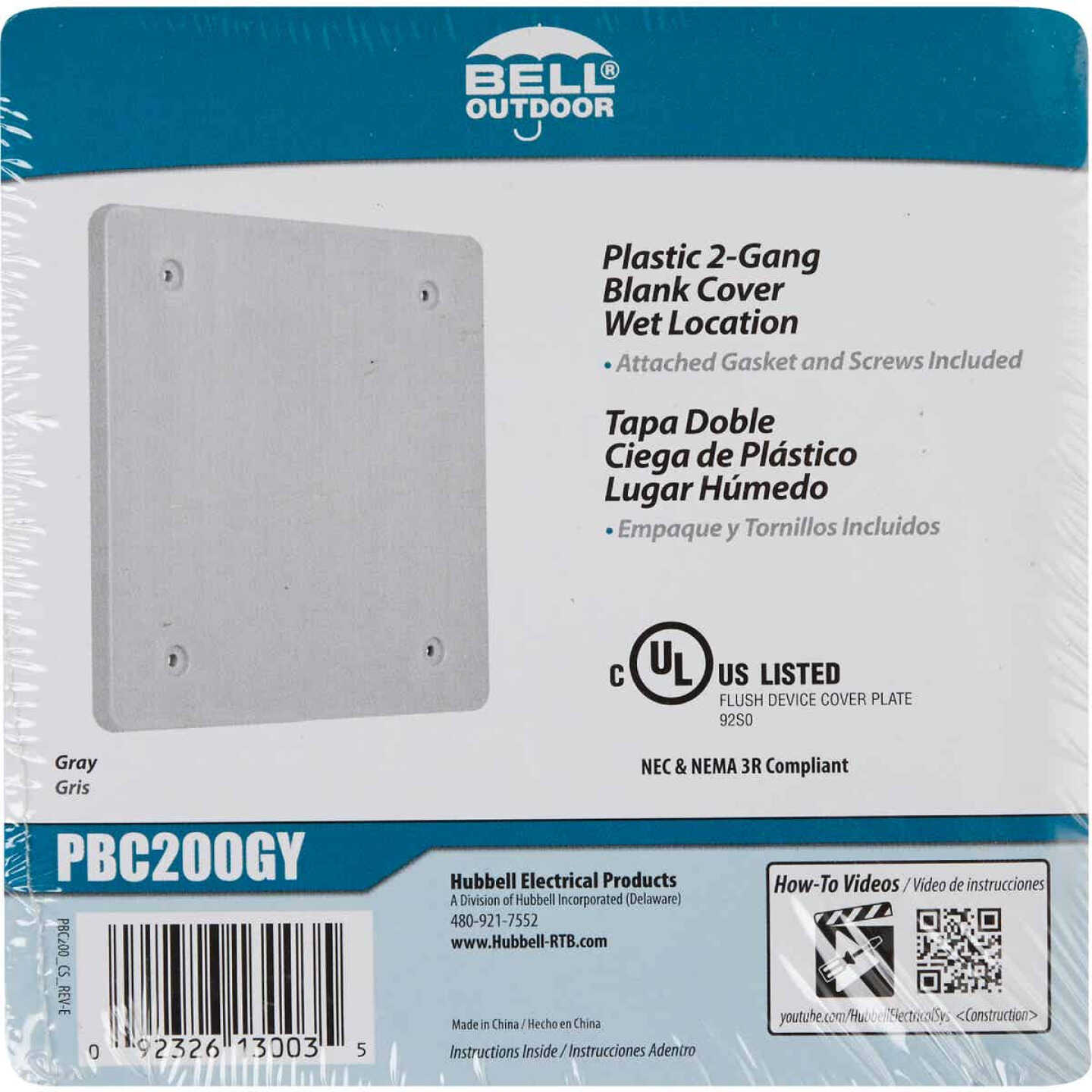 Bell 2-Gang Blank Square Polycarbonate Gray Weatherproof Outdoor Box Cover Image 2