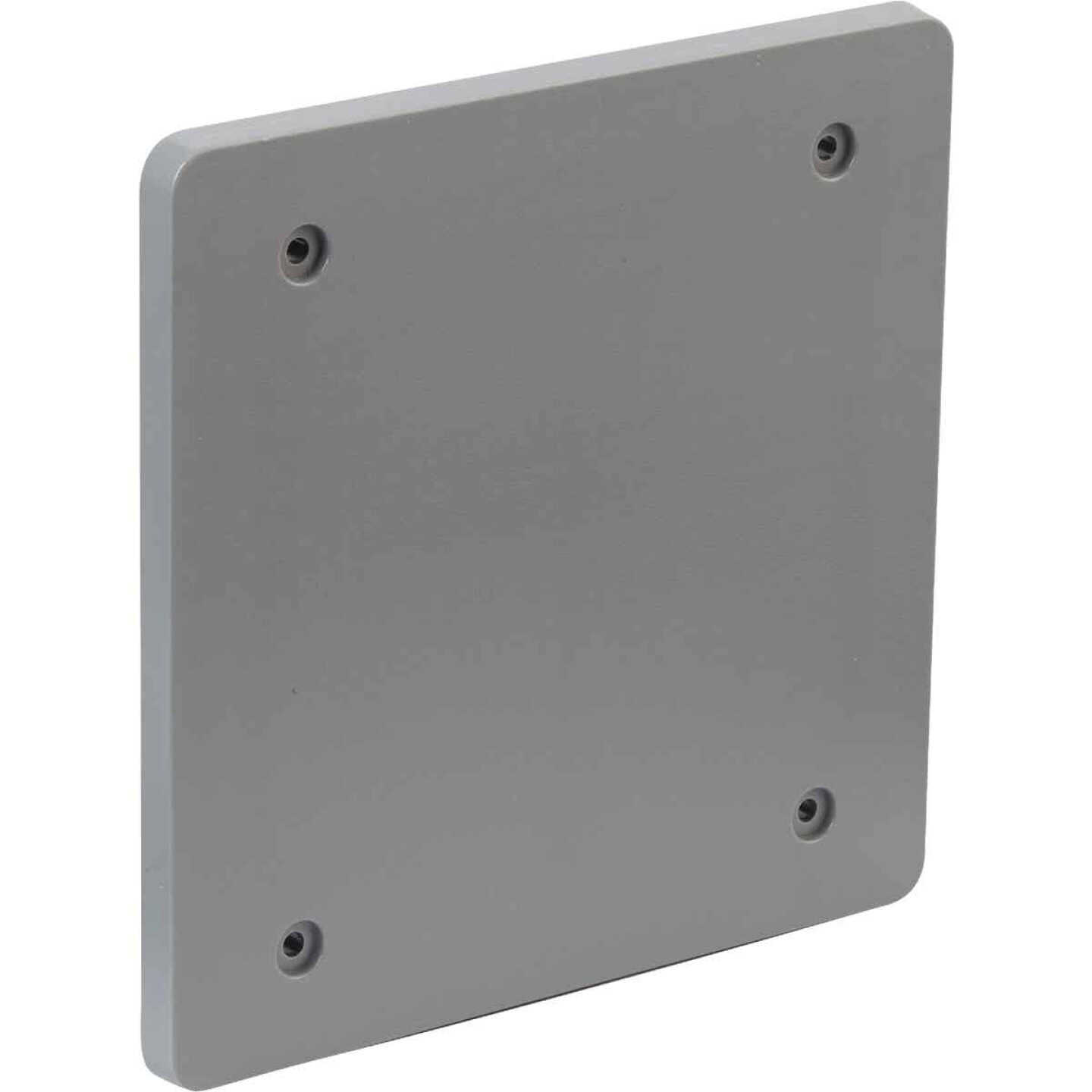 Bell 2-Gang Blank Square Polycarbonate Gray Weatherproof Outdoor Box Cover Image 3