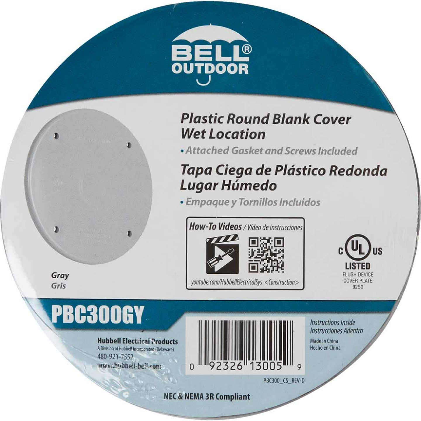 Bell Single Gang Blank Round Polycarbonate Gray Weatherproof Outdoor Box Cover Image 2