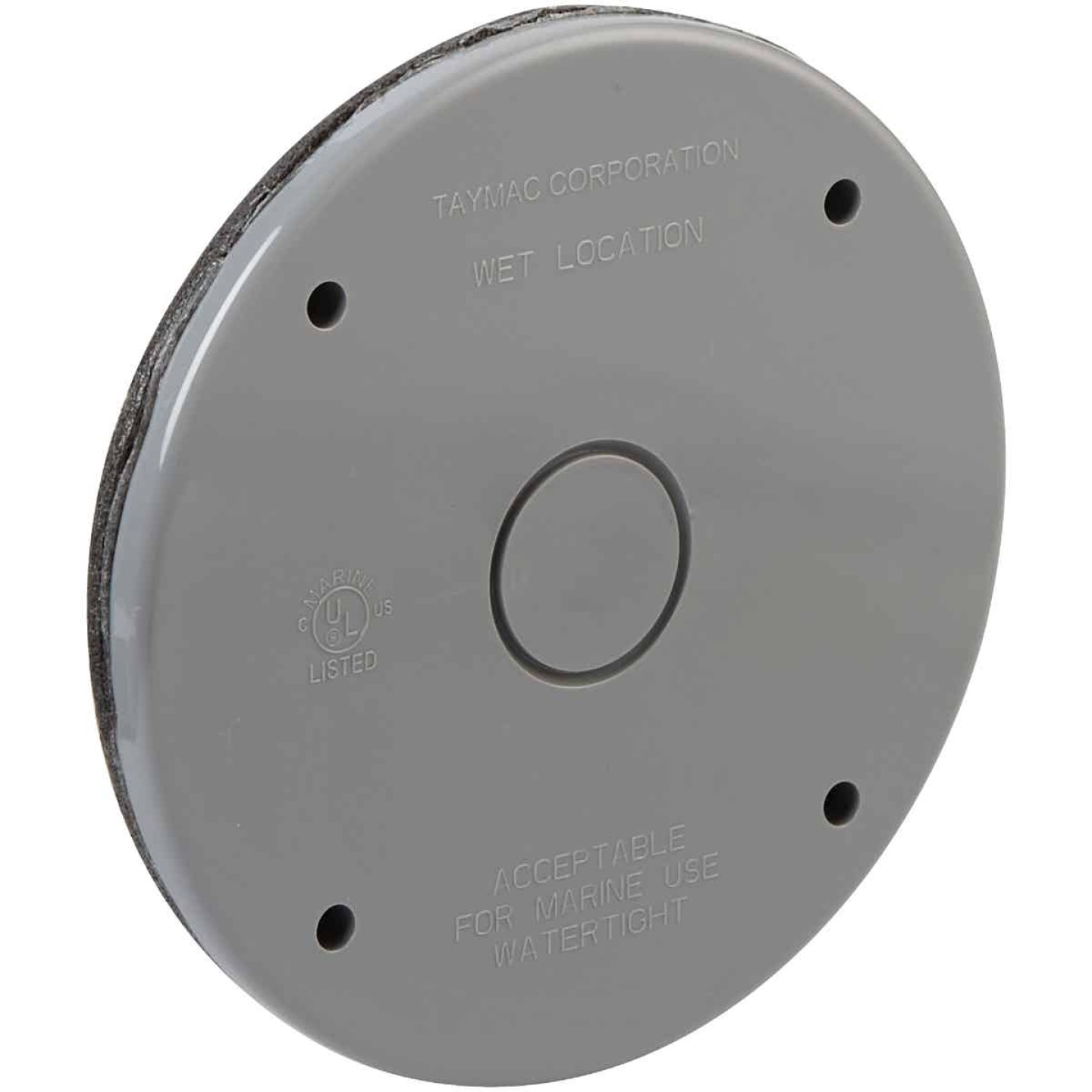 Bell Single Gang Blank Round Polycarbonate Gray Weatherproof Outdoor Box Cover Image 3