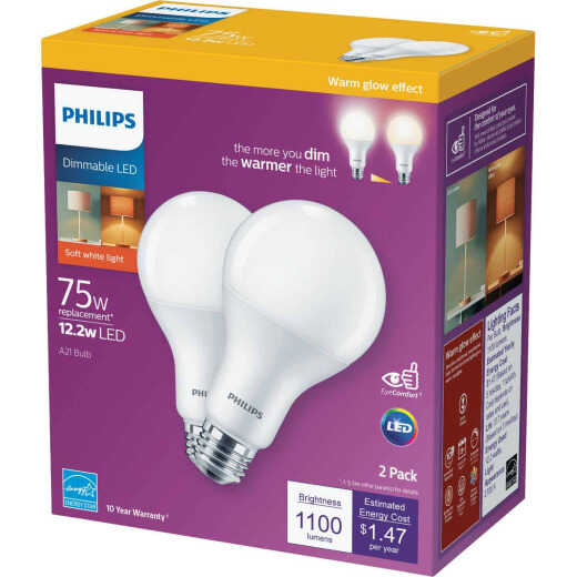 Philips Warm Glow 75W Equivalent Soft White A21 Medium Dimmable LED Light Bulb (2-Pack)
