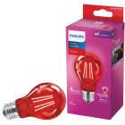 Philips Red A19 Medium 4W Indoor/Outdoor LED Decorative Party Light Bulb Image 1