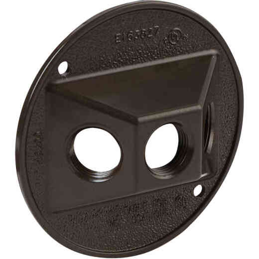 Bell 3-Outlet Round Zinc Bronze Cluster Weatherproof Outdoor Box Cover, Shrink Wrapped