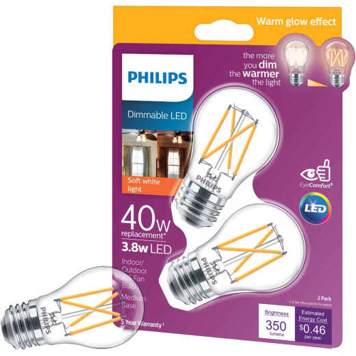Philips Warm Glow 40W Equivalent A15 Medium Dimmable LED Light Bulb (2-Pack)
