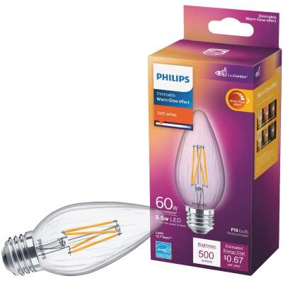 Philips Warm Glow 60W Equivalent Soft White F15 Medium Dimmable Post LED Decorative Light Bulb