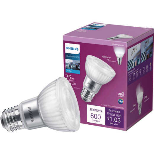 Philips 75W Equivalent Daylight PAR20 Medium Dimmable LED Floodlight Light Bulb