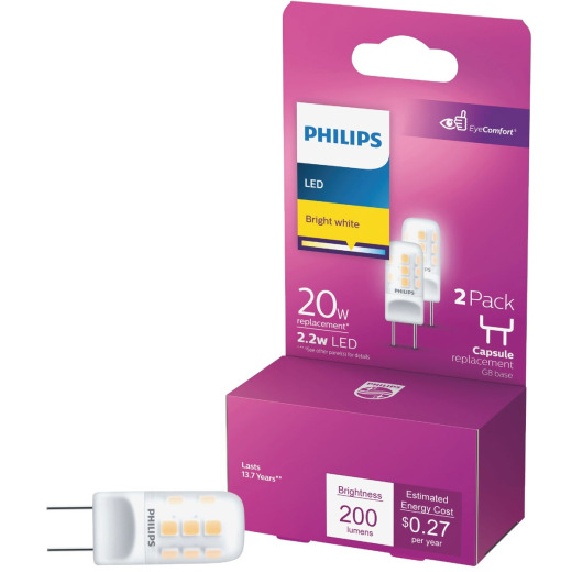 Philips 20W Equivalent T4 G8 Bi-Pin Base LED Special Purpose Light Bulb (2-Pack)