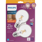 Philips Warm Glow 25W Equivalent Soft White G25 Medium Dimmable LED Decorative Globe Light Bulb (2-Pack) Image 1
