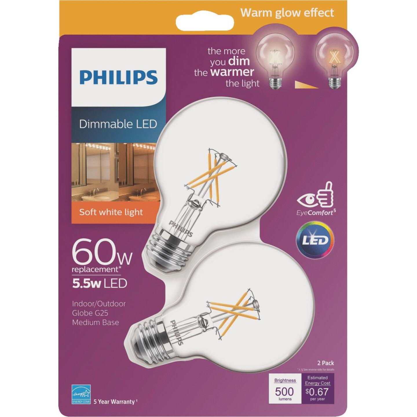 Philips Warm Glow 60W Equivalent Soft White G25 Medium Dimmable LED Decorative Globe Light Bulb (2-Pack) Image 1