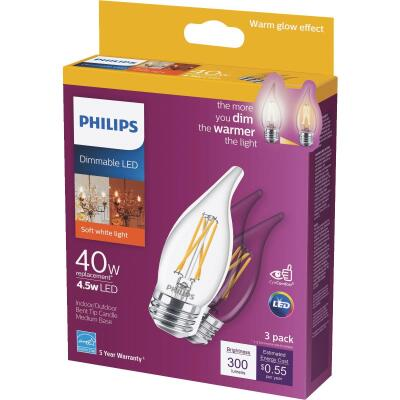 Philips Warm Glow 40W Equivalent Soft White BA11 Medium Dimmable LED Decorative Light Bulb (3-Pack)
