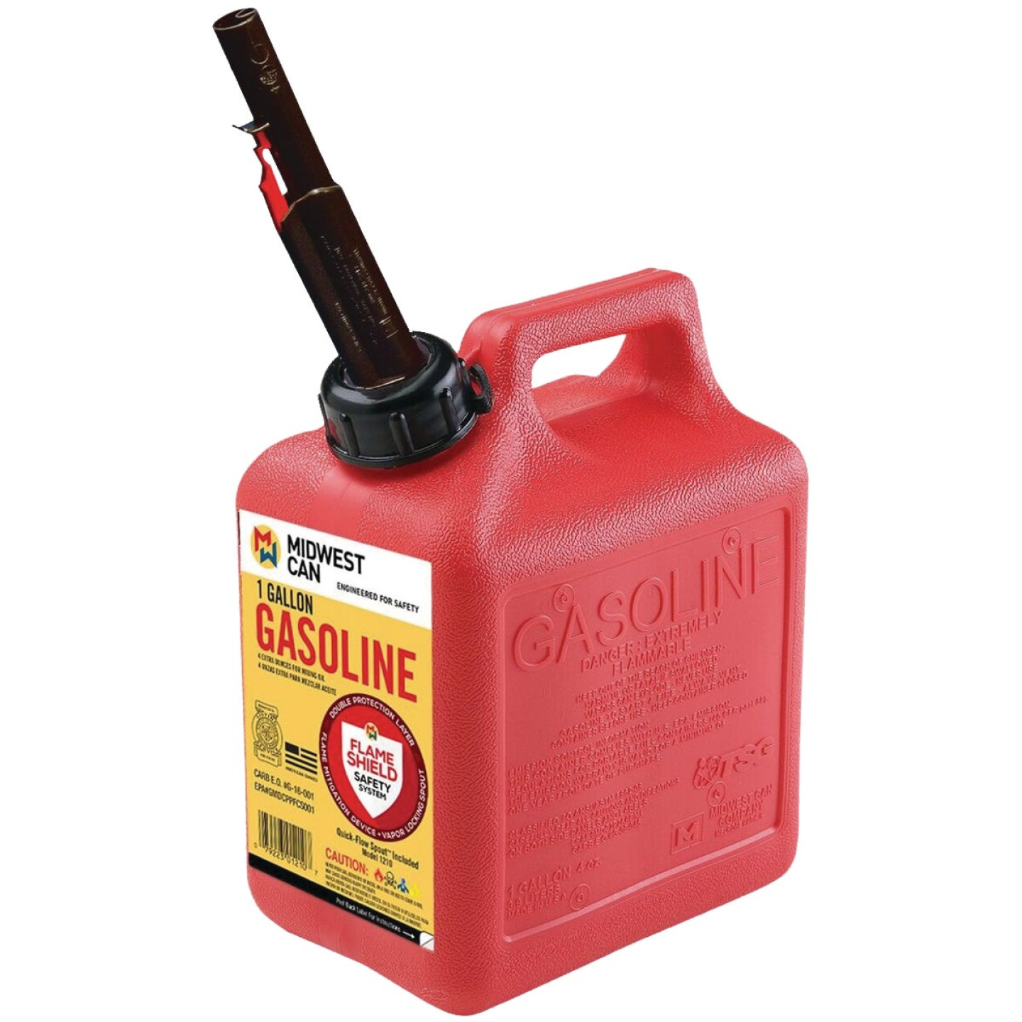 Midwest Can 1 Gal. Plastic Auto Shut-Off Gasoline Fuel Can, Red Image 1