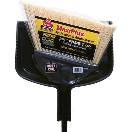 O-Cedar MaxiPlus 14 In. W. x 56 In. L. Steel Handle Angle Household Broom with Dustpan