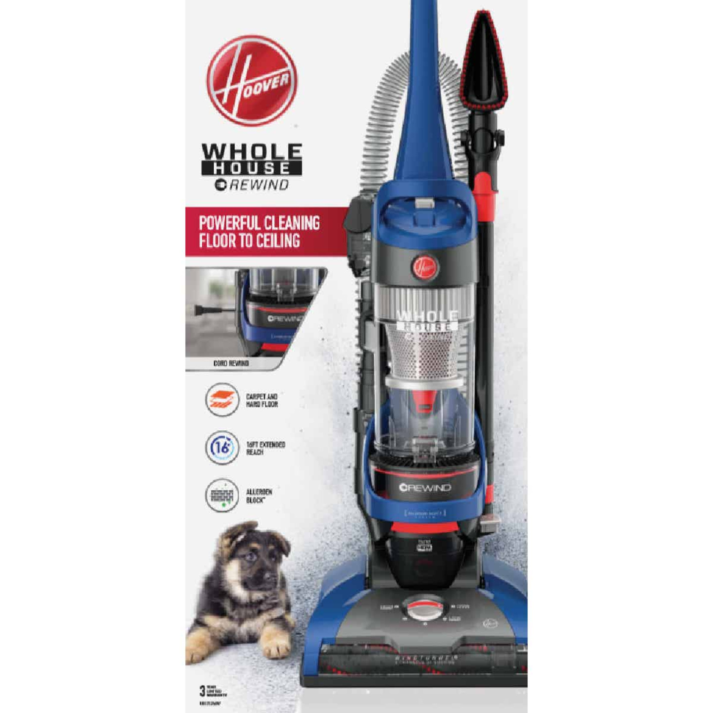 Hoover WindTunnel 2 Whole House Bagless Rewind Upright Vacuum Cleaner Image 2