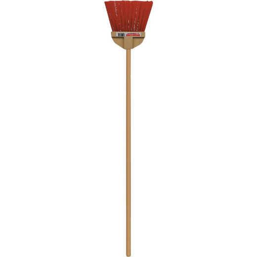 Bruske 9 In. W. x 37 In. L. Wood Handle Flared Lobby Household Broom, Brown Bristles