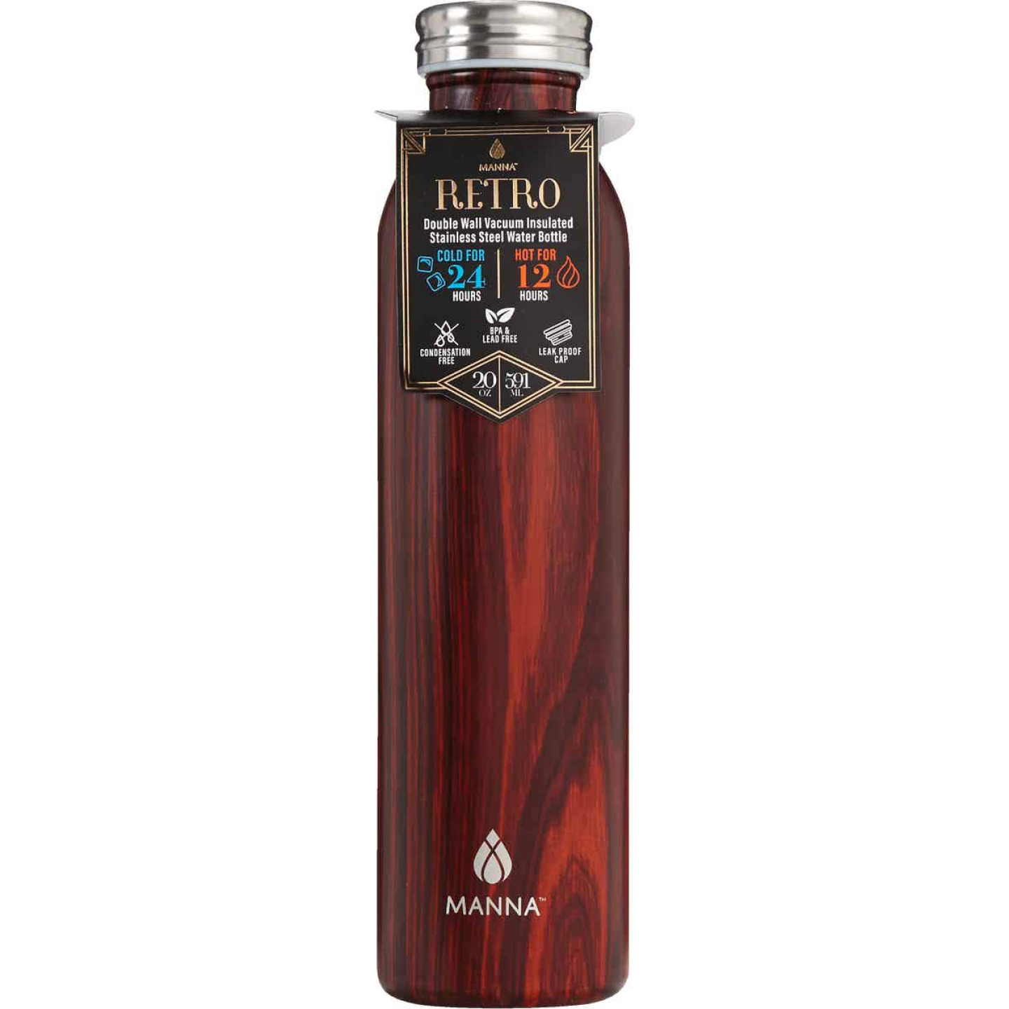 Manna 20 Oz. Mahogany Retro Insulated Vacuum Bottle Image 1