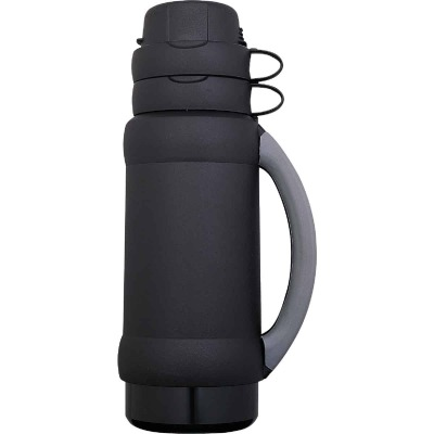 Thermos Add-A-Cup 35 Oz. Black or Blue Plastic Insulated Vacuum Bottle