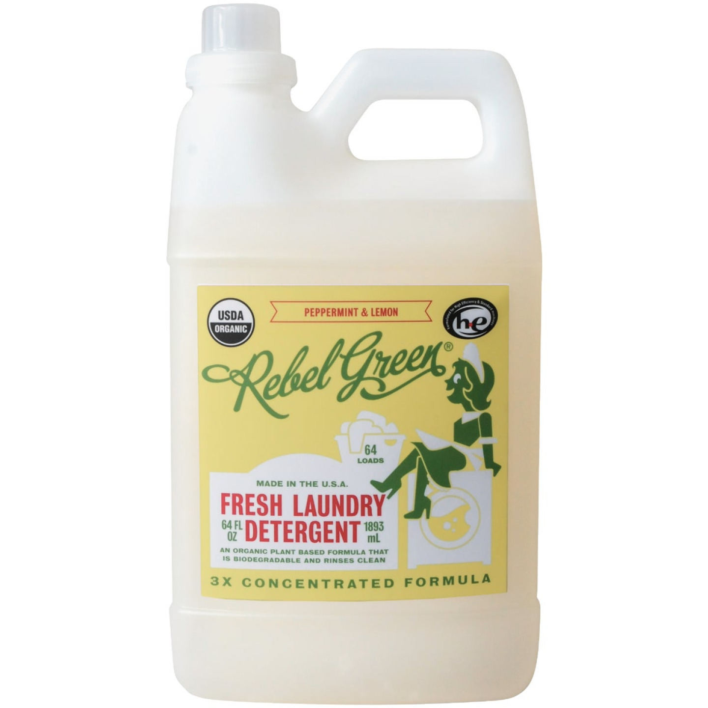 Rebel Green 64 Oz. 64-Load Peppermint & Lemon Laundry Detergent Image 1