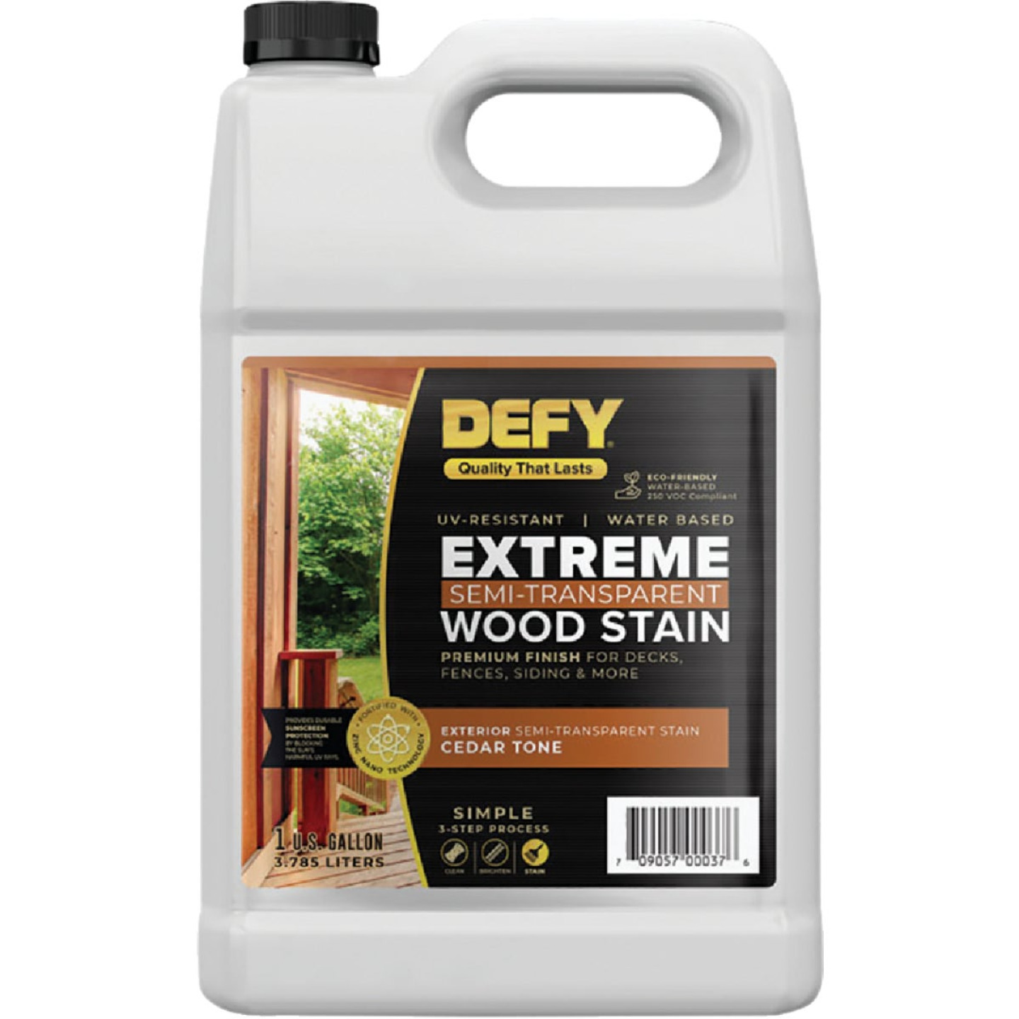 DEFY Extreme Semi-Transparent Exterior Wood Stain, Cedar Tone, 1 Gal. Bottle Image 1