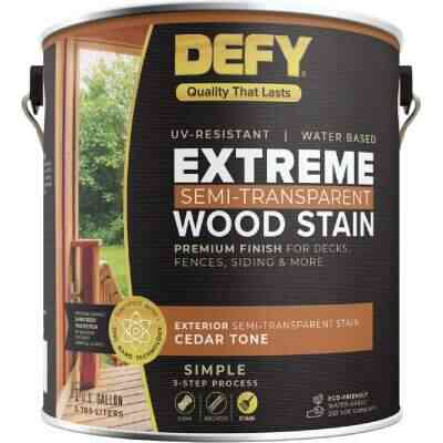 DEFY Extreme Semi-Transparent Exterior Wood Stain, Cedar Tone, 1 Gal. Can