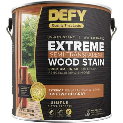 DEFY Extreme Semi-Transparent Exterior Wood Stain, Driftwood Gray, 1 Gal. Can