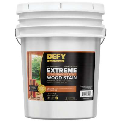 DEFY Extreme Semi-Transparent Exterior Wood Stain, Redwood, 5 Gal.