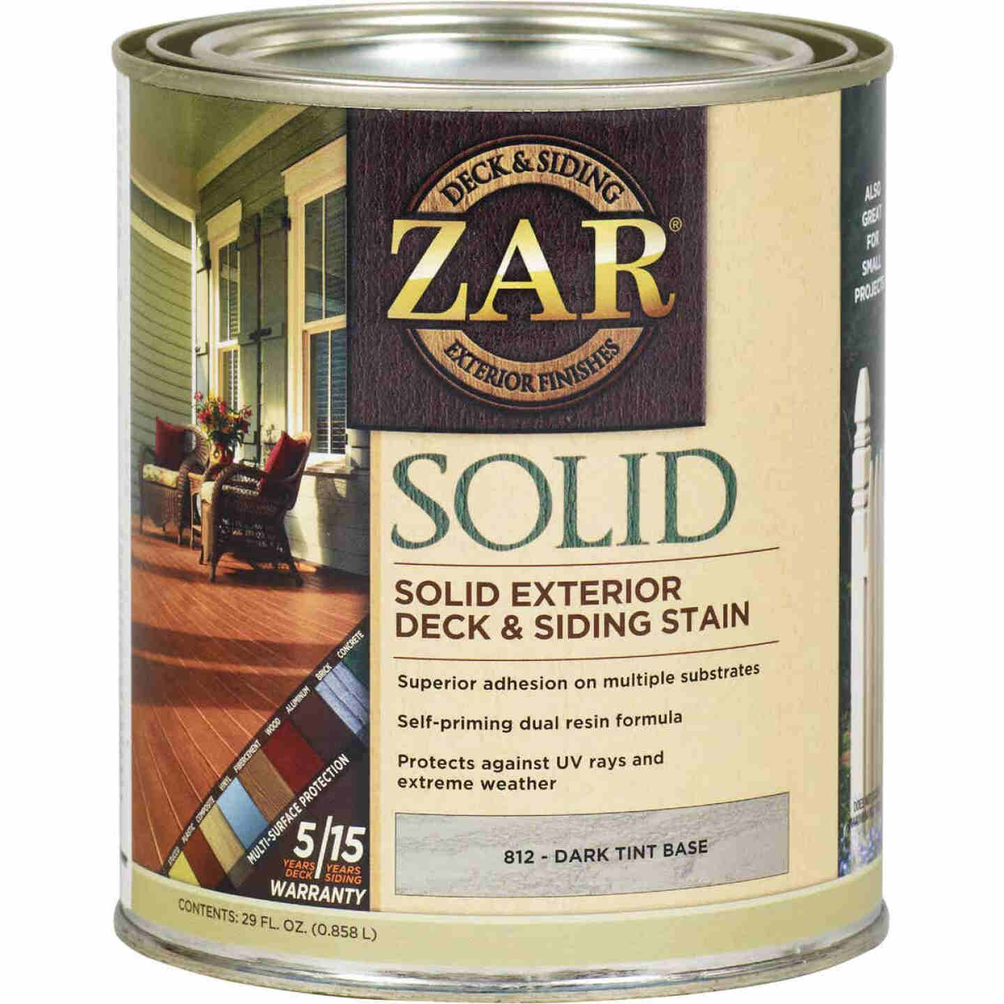 ZAR Solid Deck & Siding Stain, Dark Tint Base, 1 Qt. Image 1